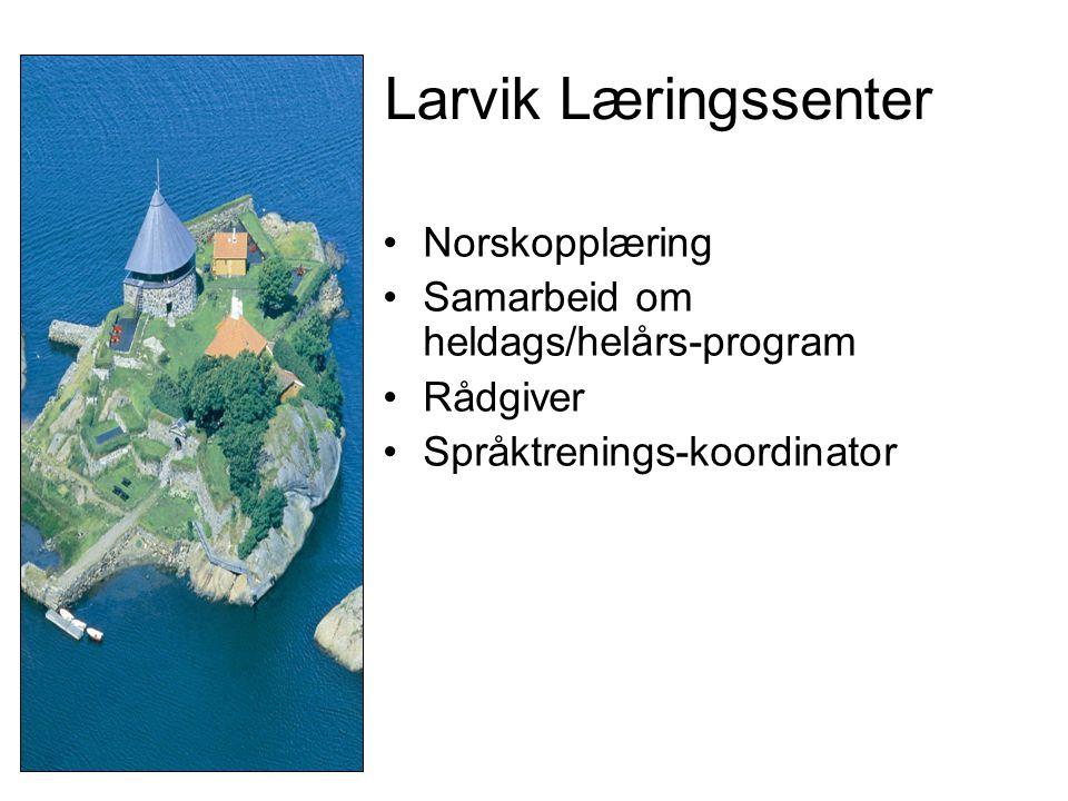 •Norskopplæring •Samarbeid om heldags/helårs-program •Rådgiver •Språktrenings-koordinator Larvik Læringssenter