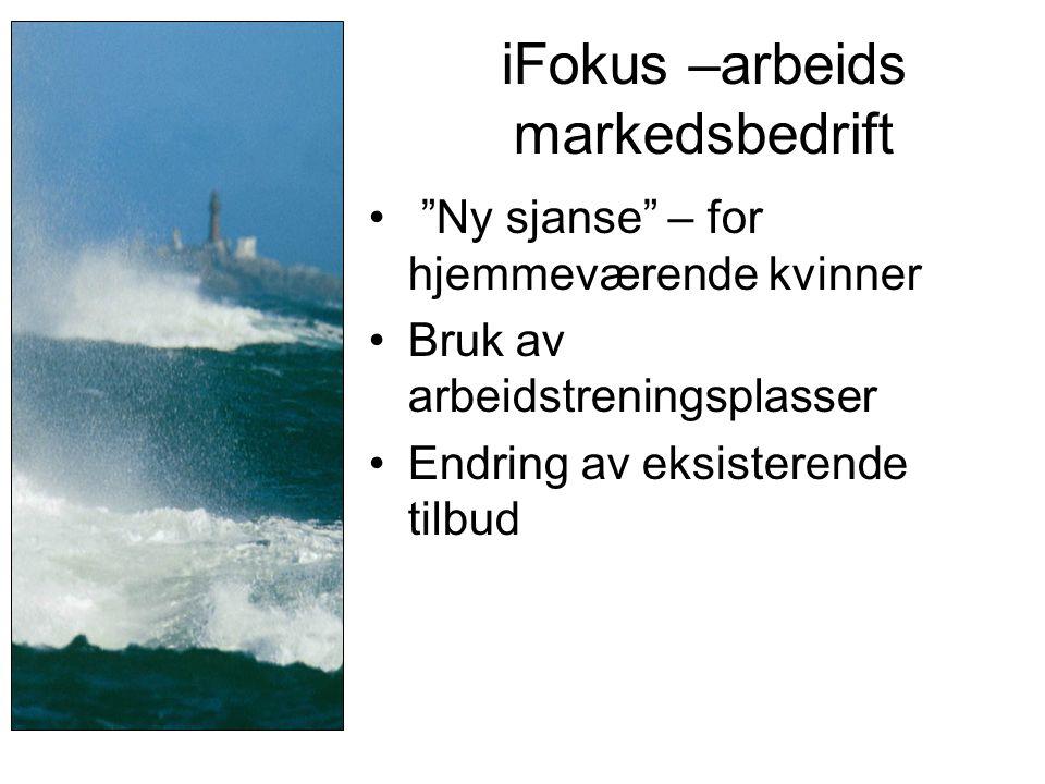 """iFokus –arbeids markedsbedrift • """"Ny sjanse"""" – for hjemmeværende kvinner •Bruk av arbeidstreningsplasser •Endring av eksisterende tilbud"""