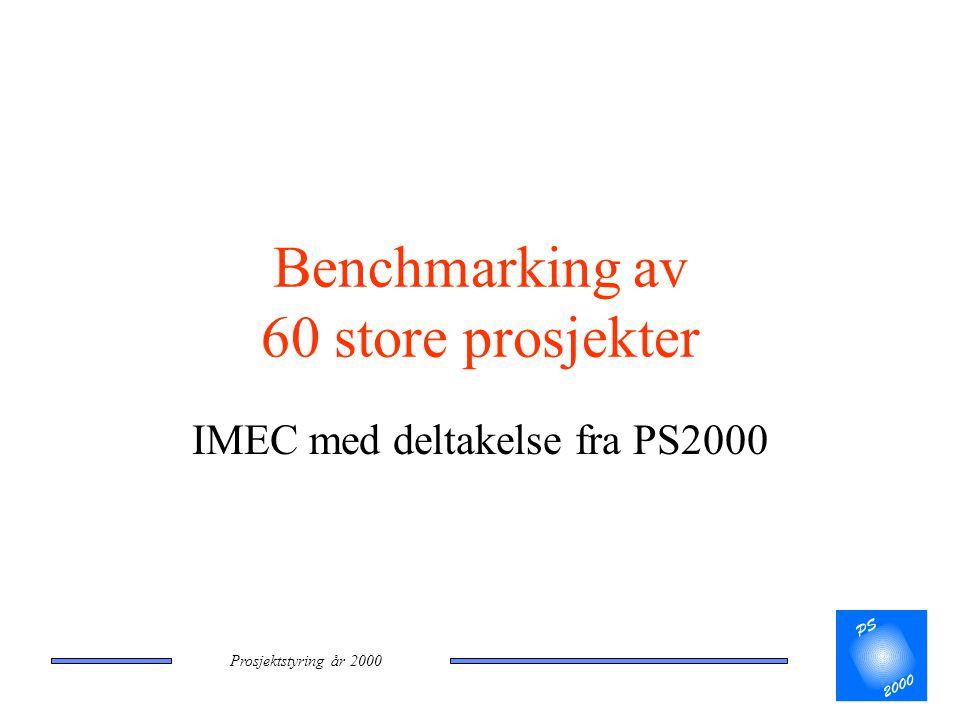 Prosjektstyring år 2000 Benchmarking av 60 store prosjekter IMEC med deltakelse fra PS2000