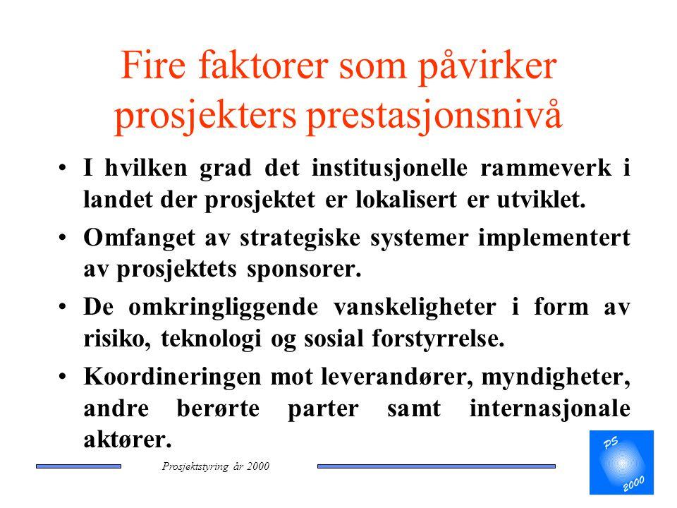 Prosjektstyring år 2000 Fire faktorer som påvirker prosjekters prestasjonsnivå •I hvilken grad det institusjonelle rammeverk i landet der prosjektet e