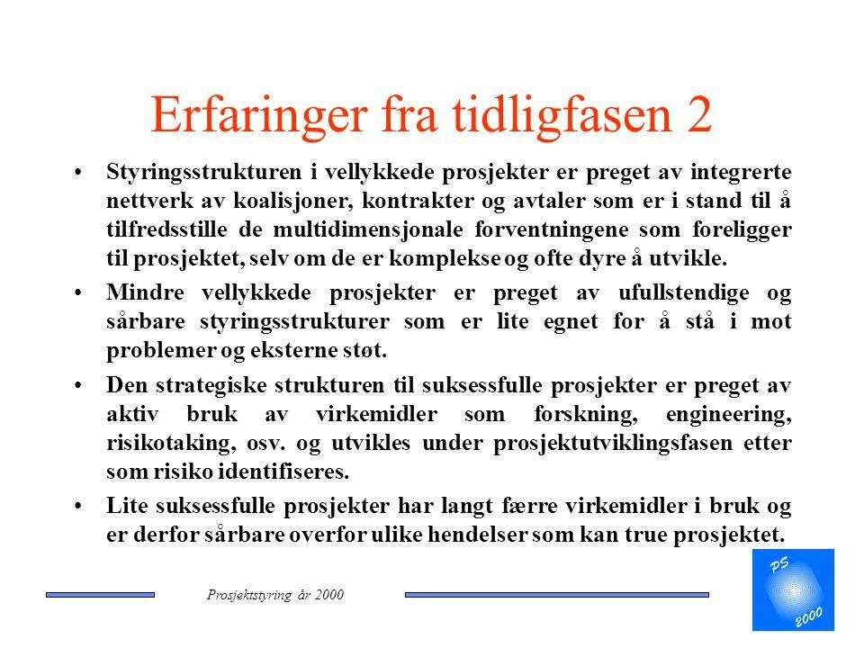 Prosjektstyring år 2000 Erfaringer fra tidligfasen 2 •Styringsstrukturen i vellykkede prosjekter er preget av integrerte nettverk av koalisjoner, kont