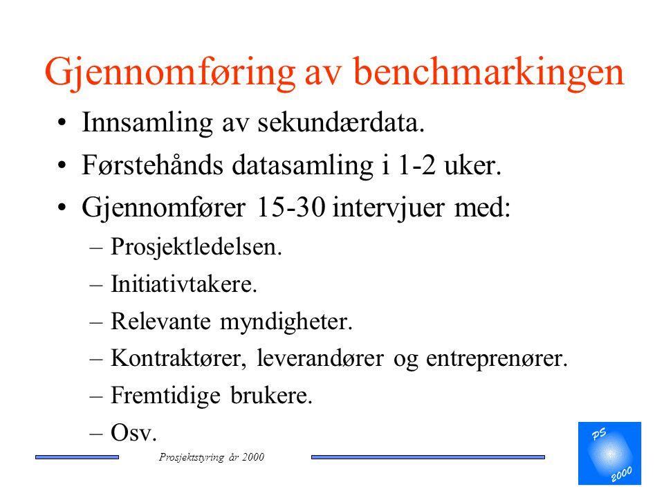Prosjektstyring år 2000 Gjennomføring av benchmarkingen •Innsamling av sekundærdata. •Førstehånds datasamling i 1-2 uker. •Gjennomfører 15-30 intervju