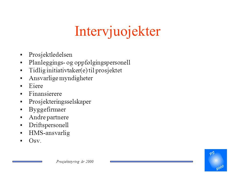 Prosjektstyring år 2000 Intervjuojekter •Prosjektledelsen •Planleggings- og oppfølgingspersonell •Tidlig initiativtaker(e) til prosjektet •Ansvarlige