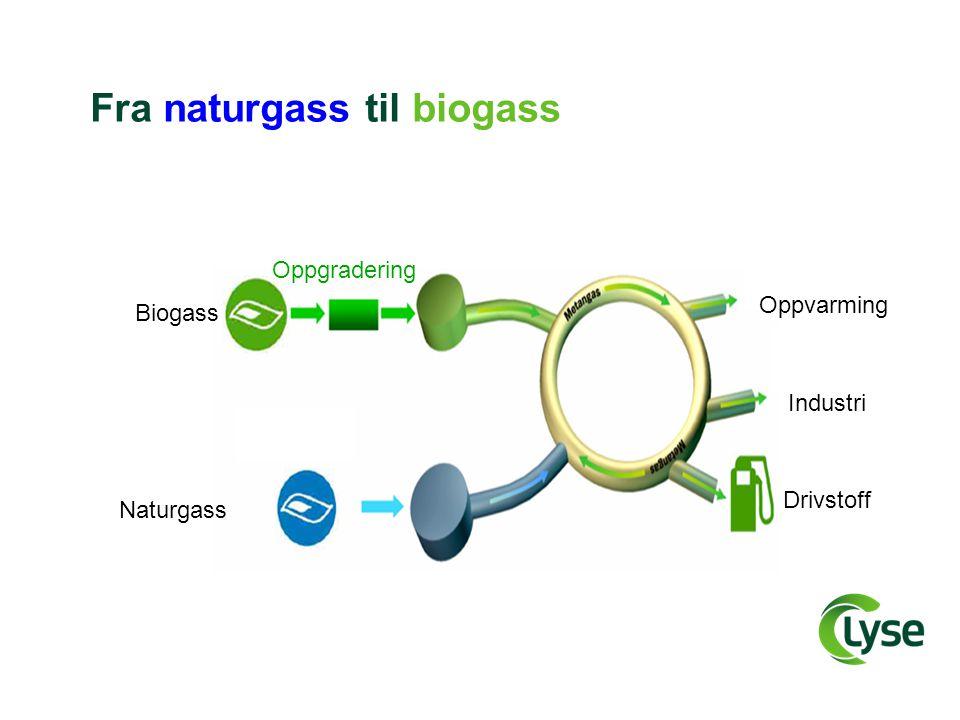 Fra naturgass til biogass Biogass Naturgass Oppgradering Drivstoff Industri Oppvarming