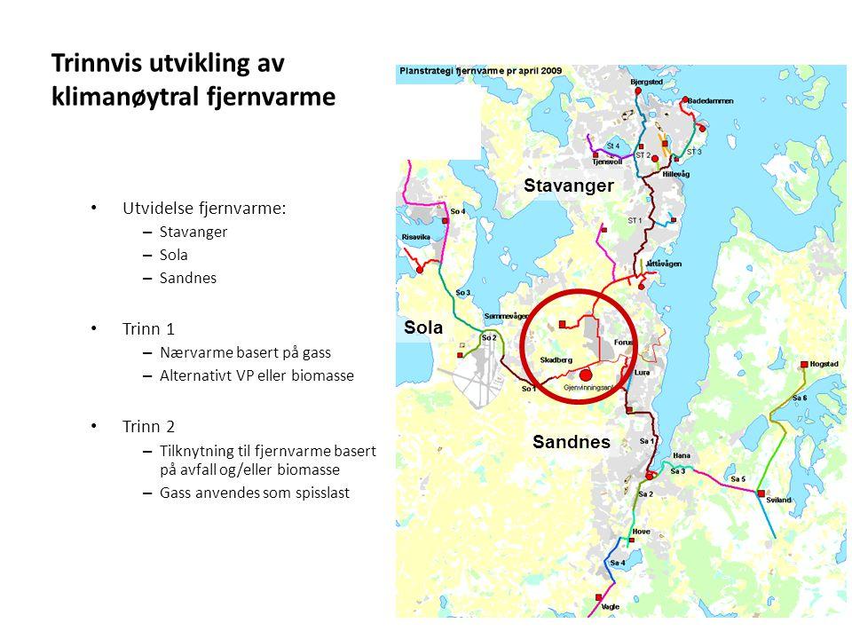 Stavanger Sandnes Sola Trinnvis utvikling av klimanøytral fjernvarme • Utvidelse fjernvarme: – Stavanger – Sola – Sandnes • Trinn 1 – Nærvarme basert