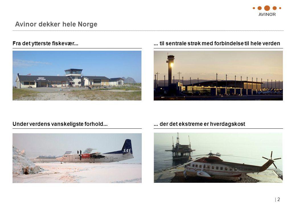| 2 Avinor dekker hele Norge Fra det ytterste fiskevær...... til sentrale strøk med forbindelse til hele verden Under verdens vanskeligste forhold....
