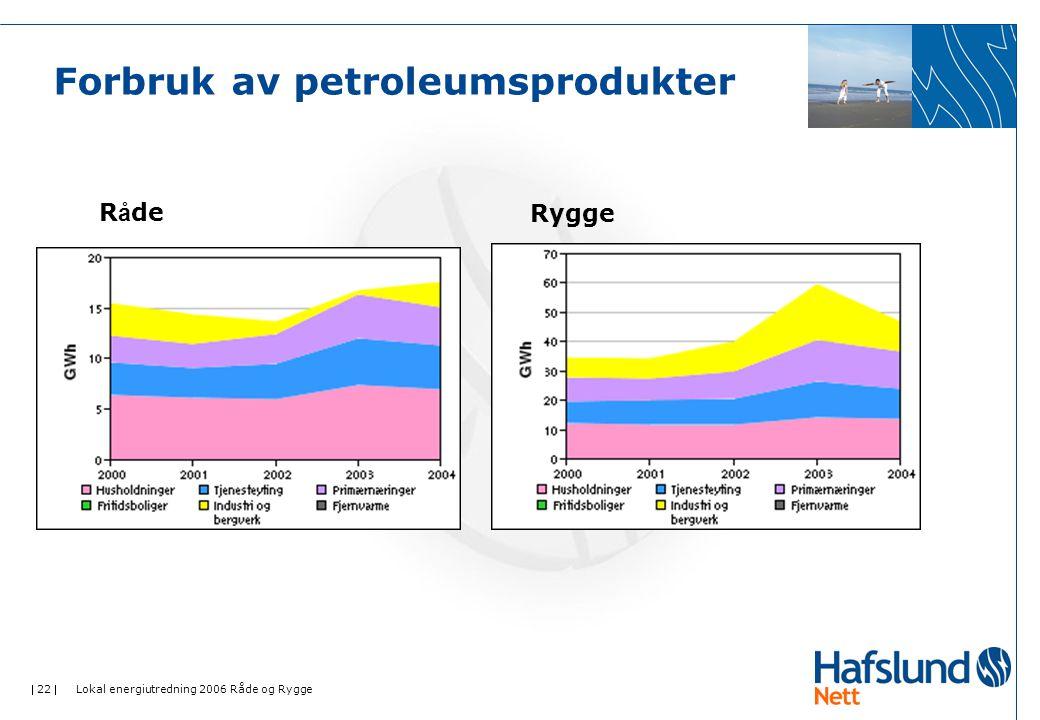  22  Lokal energiutredning 2006 Råde og Rygge Forbruk av petroleumsprodukter R å deRygge