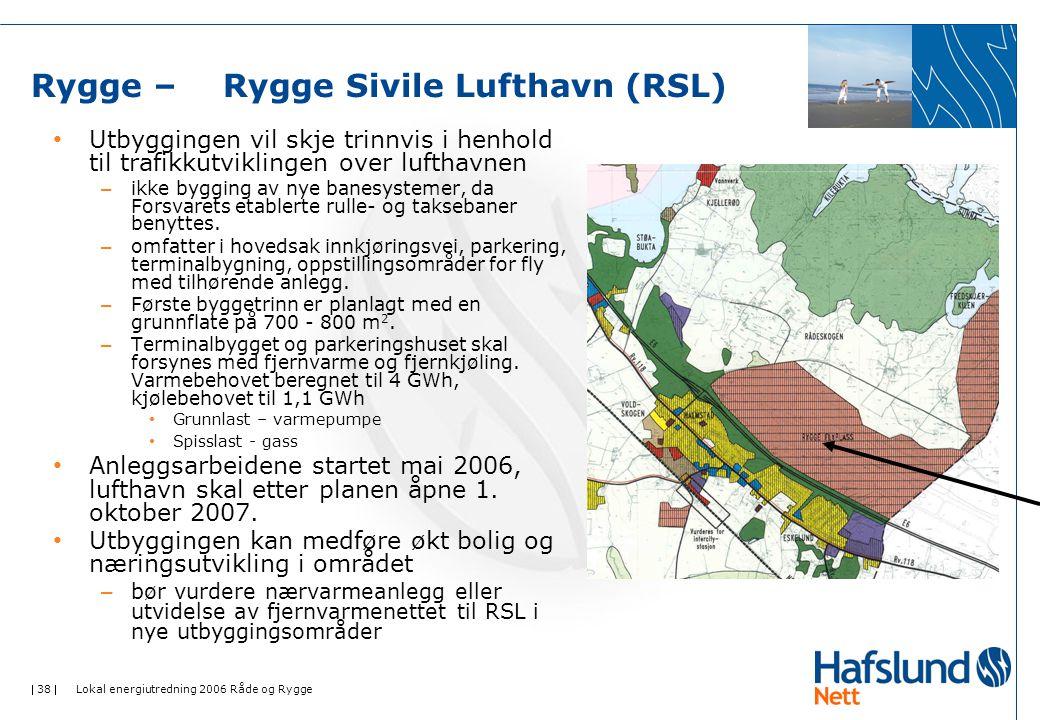  38  Lokal energiutredning 2006 Råde og Rygge Rygge – Rygge Sivile Lufthavn (RSL) • Utbyggingen vil skje trinnvis i henhold til trafikkutviklingen over lufthavnen – ikke bygging av nye banesystemer, da Forsvarets etablerte rulle- og taksebaner benyttes.
