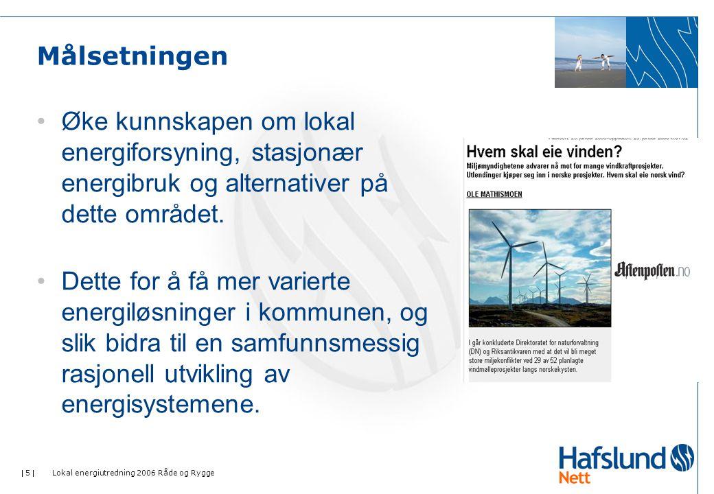  5  Lokal energiutredning 2006 Råde og Rygge Målsetningen •Øke kunnskapen om lokal energiforsyning, stasjonær energibruk og alternativer på dette området.
