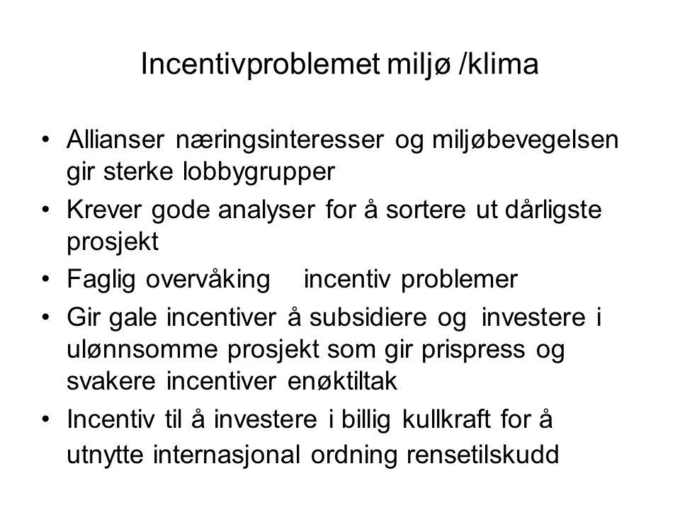 Incentivproblemet miljø /klima •Allianser næringsinteresser og miljøbevegelsen gir sterke lobbygrupper •Krever gode analyser for å sortere ut dårligste prosjekt •Faglig overvåking incentiv problemer •Gir gale incentiver å subsidiere og investere i ulønnsomme prosjekt som gir prispress og svakere incentiver enøktiltak •Incentiv til å investere i billig kullkraft for å utnytte internasjonal ordning rensetilskudd