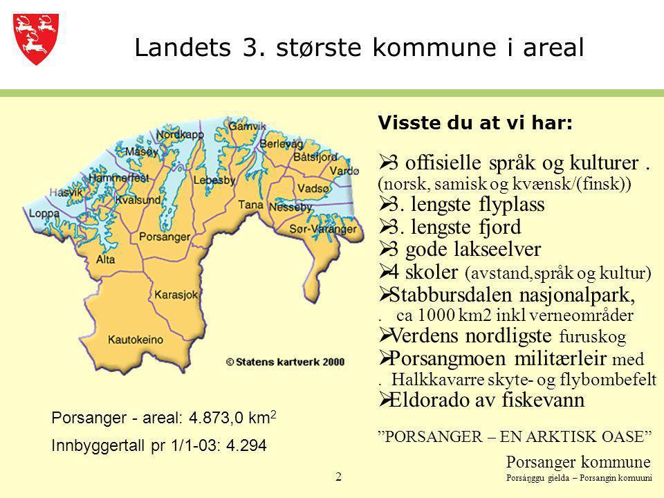 Porsanger kommune Porsáŋggu gielda – Porsangin komuuni 2 Innbyggertall pr 1/1-03: 4.294 Porsanger - areal: 4.873,0 km 2 Visste du at vi har:  3 offis