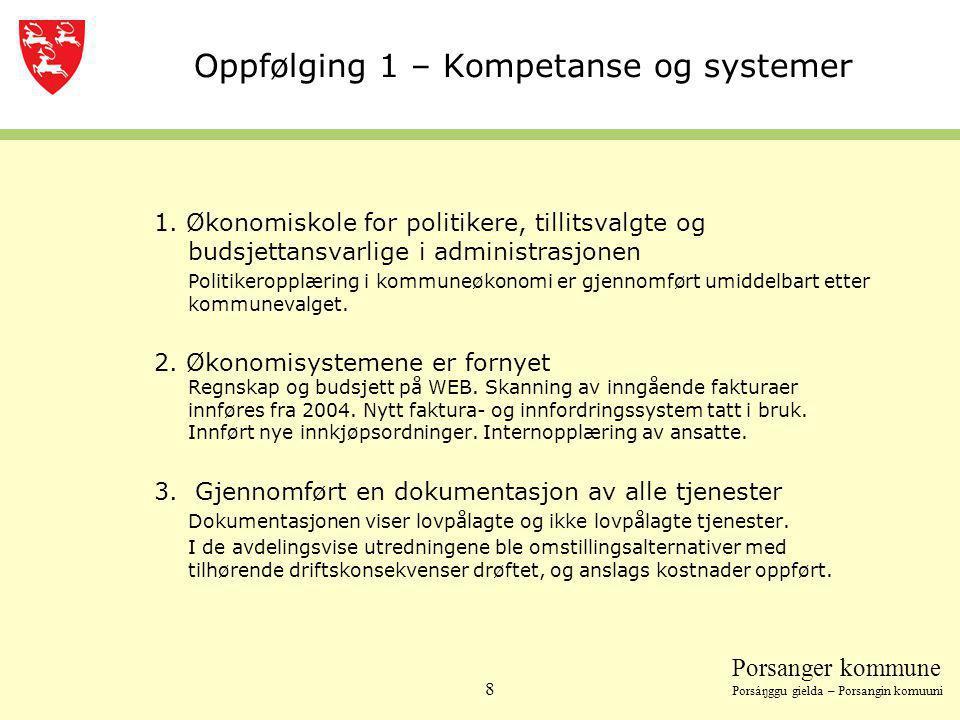 Porsanger kommune Porsáŋggu gielda – Porsangin komuuni 8 Oppfølging 1 – Kompetanse og systemer 1. Økonomiskole for politikere, tillitsvalgte og budsje
