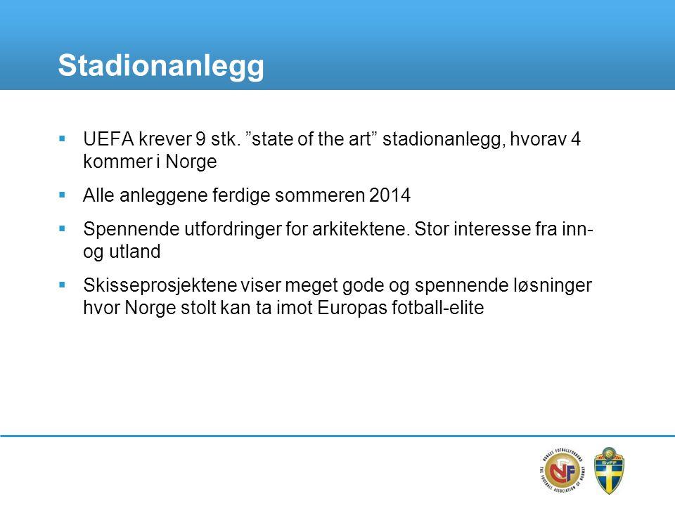 Stadionanlegg  UEFA krever 9 stk.