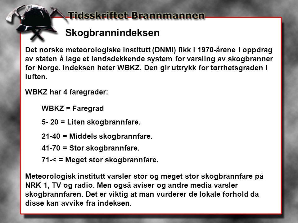 Skogbrannindeksen Det norske meteorologiske institutt (DNMI) fikk i 1970-årene i oppdrag av staten å lage et landsdekkende system for varsling av skog
