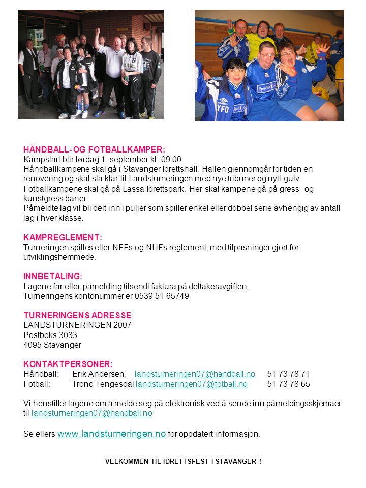 HÅNDBALL- OG FOTBALLKAMPER: Kampstart blir lørdag 1. september kl. 09:00. Håndballkampene skal gå i Stavanger Idrettshall. Hallen gjennomgår for tiden
