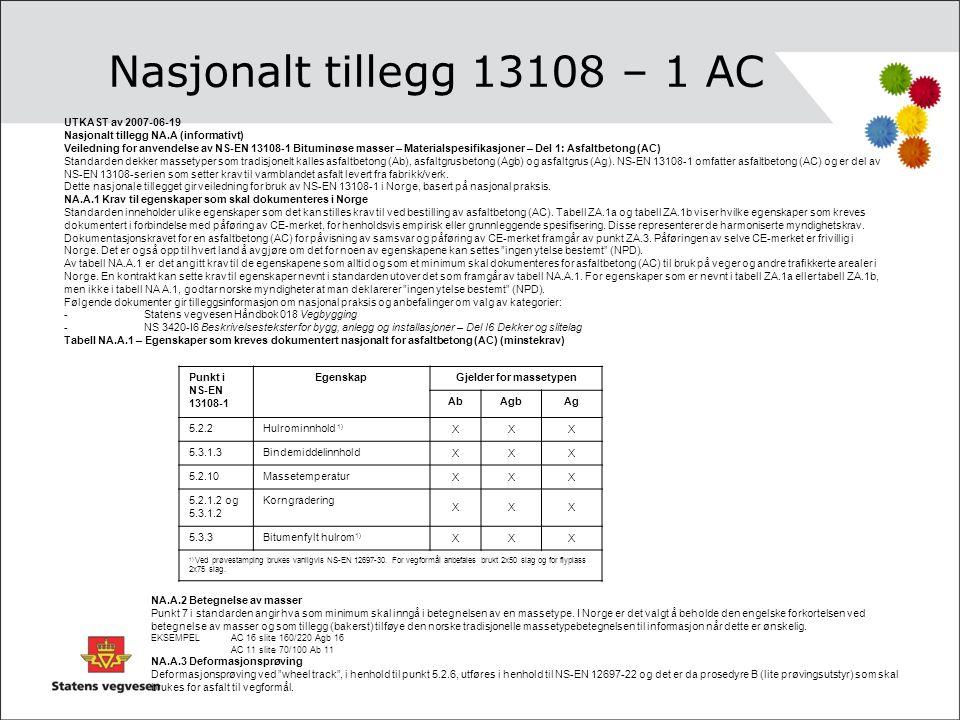 Nasjonalt tillegg 13108 – 1 AC UTKAST av 2007-06-19 Nasjonalt tillegg NA.A (informativt) Veiledning for anvendelse av NS-EN 13108-1 Bituminøse masser