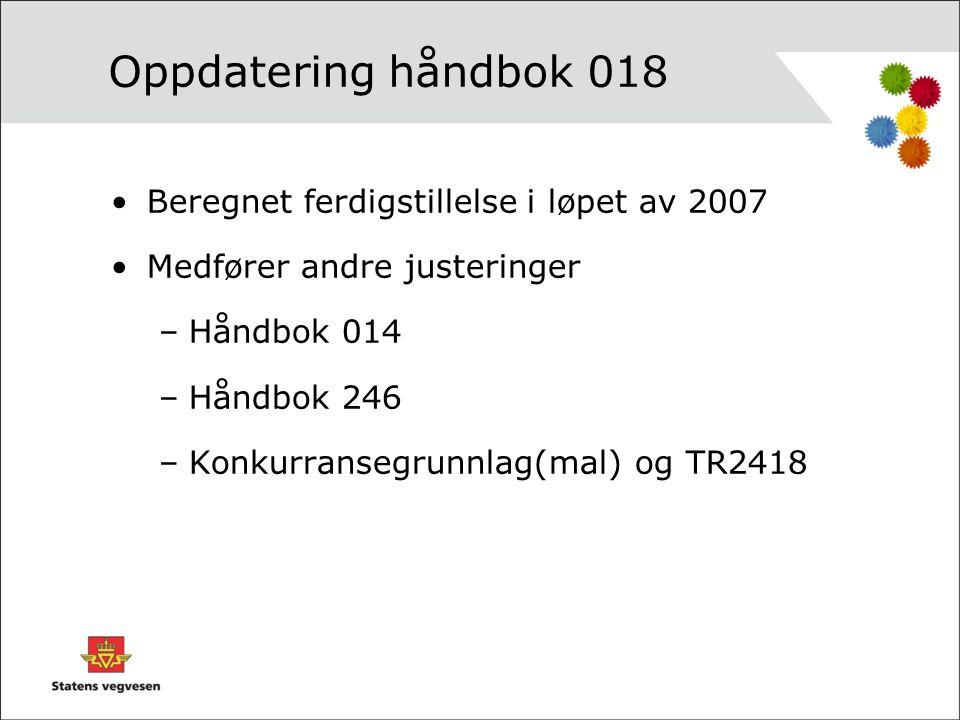 Oppdatering håndbok 018 •Beregnet ferdigstillelse i løpet av 2007 •Medfører andre justeringer –Håndbok 014 –Håndbok 246 –Konkurransegrunnlag(mal) og T