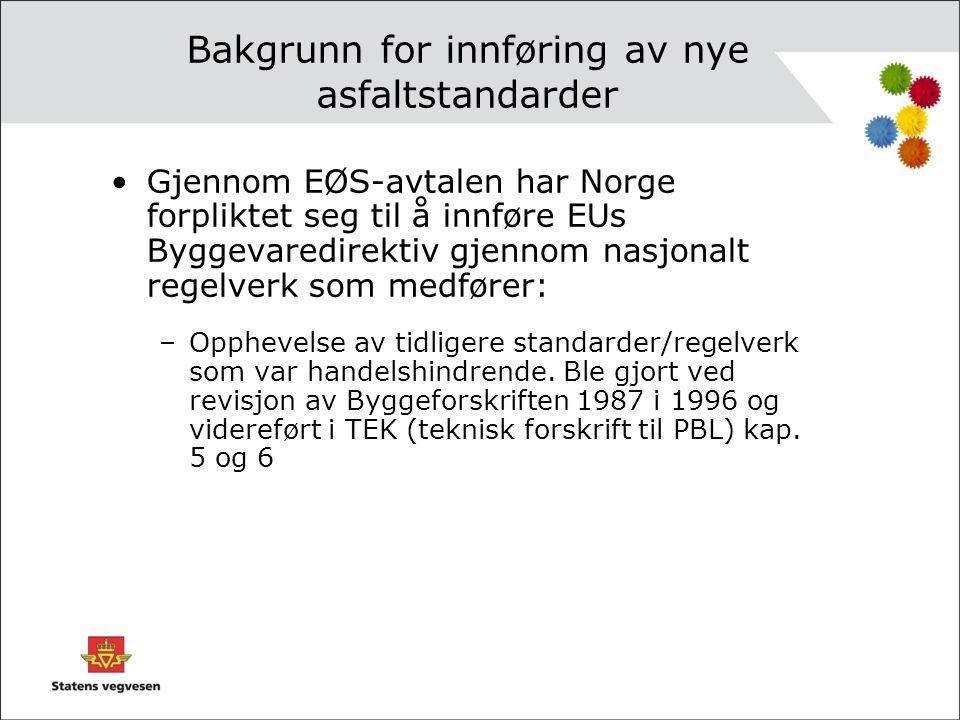 Bakgrunn for innføring av nye asfaltstandarder •Gjennom EØS-avtalen har Norge forpliktet seg til å innføre EUs Byggevaredirektiv gjennom nasjonalt reg