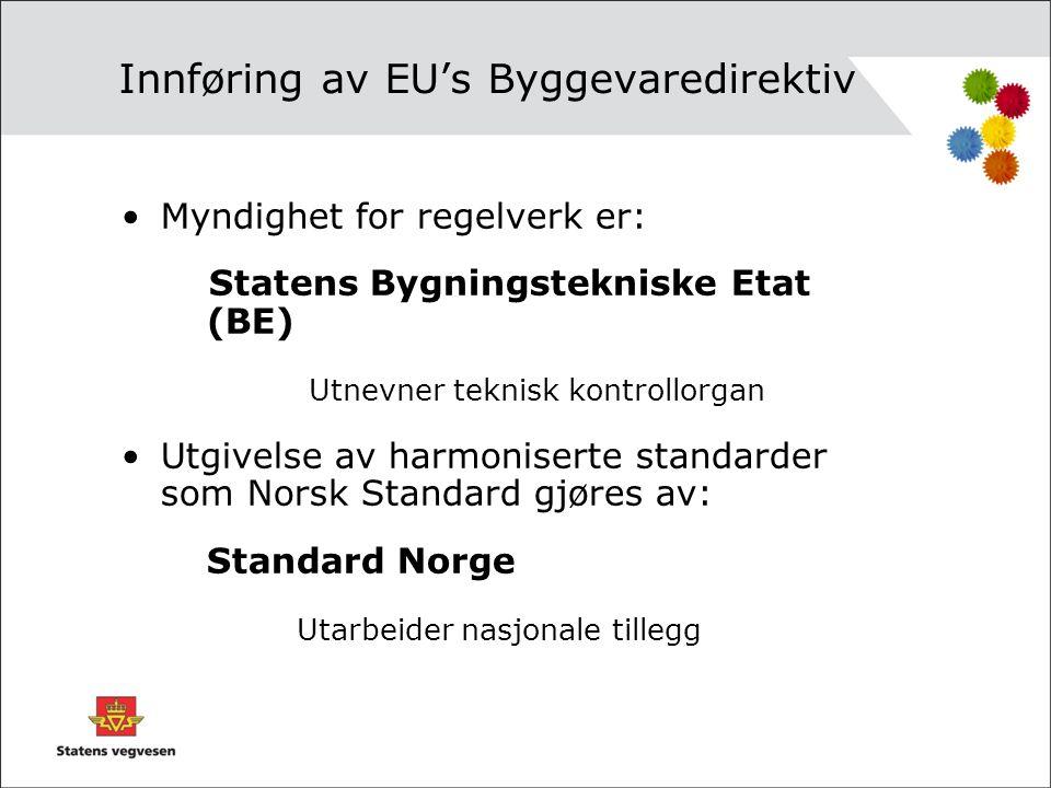 Innføring av EU's Byggevaredirektiv •Myndighet for regelverk er: Statens Bygningstekniske Etat (BE) Utnevner teknisk kontrollorgan •Utgivelse av harmo