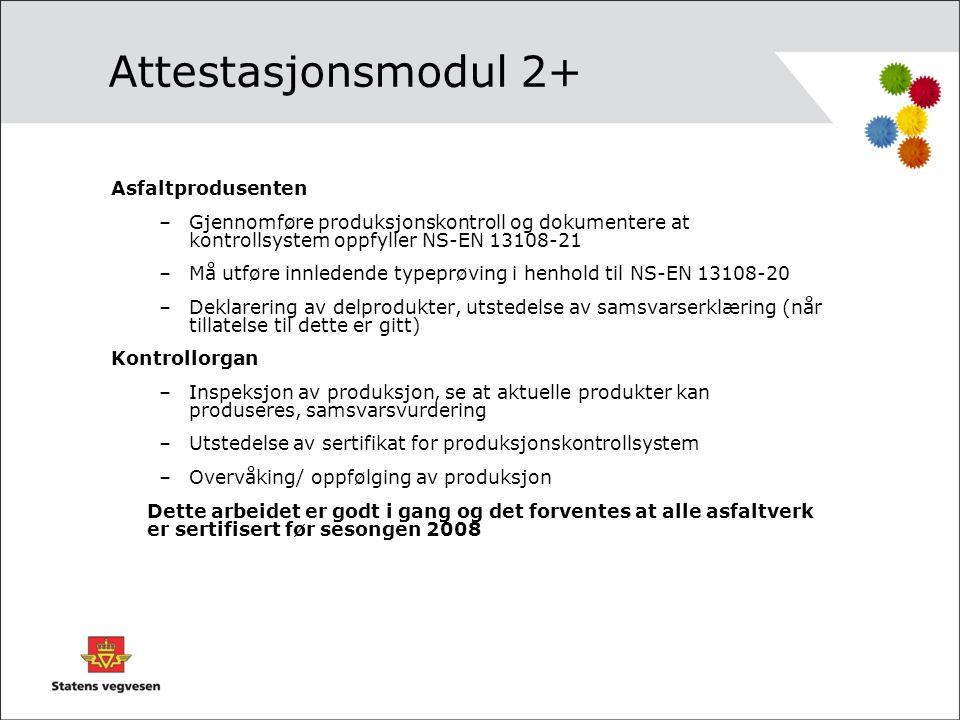 Attestasjonsmodul 2+ Asfaltprodusenten –Gjennomføre produksjonskontroll og dokumentere at kontrollsystem oppfyller NS-EN 13108-21 –Må utføre innledend