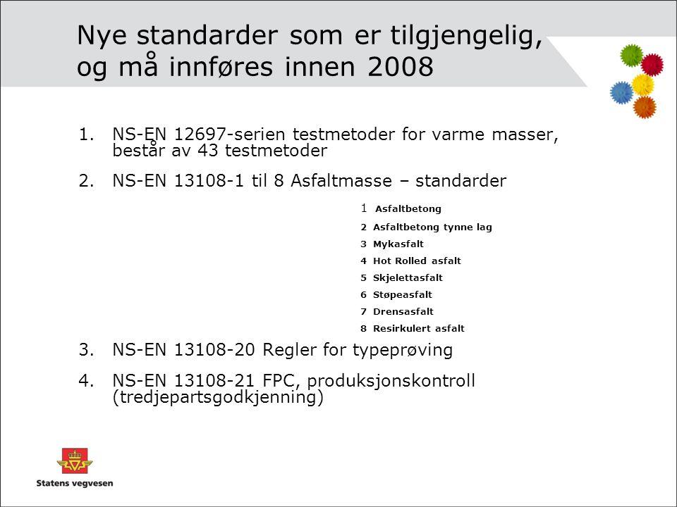 Nye standarder som er tilgjengelig, og må innføres innen 2008 1.NS-EN 12697-serien testmetoder for varme masser, består av 43 testmetoder 2.NS-EN 1310