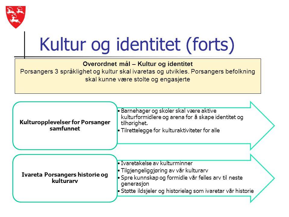 Kultur og identitet (forts) •Barnehager og skoler skal være aktive kulturformidlere og arena for å skape identitet og tilhørighet. •Tilrettelegge for