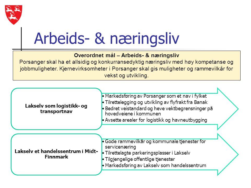 Arbeids- & næringsliv •Markedsføring av Porsanger som et nav i fylket •Tilrettelegging og utvikling av flyfrakt fra Banak •Bedret veistandard og heve