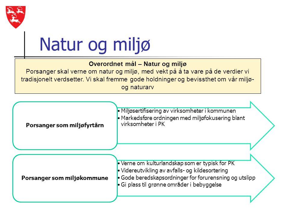 Natur og miljø •Miljøsertifisering av virksomheter i kommunen •Markedsføre ordningen med miljøfokusering blant virksomheter i PK Porsanger som miljøfy