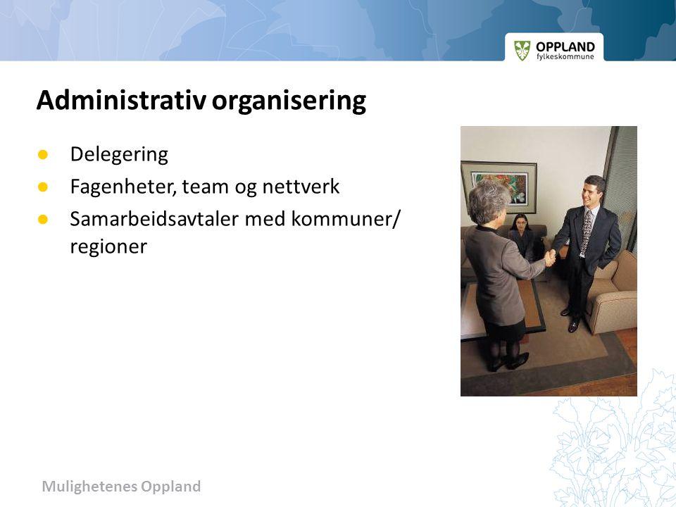 Mulighetenes Oppland ● Delegering ● Fagenheter, team og nettverk ● Samarbeidsavtaler med kommuner/ regioner Administrativ organisering