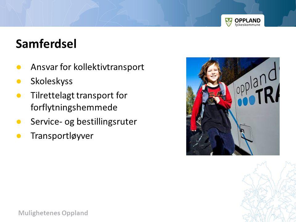 Mulighetenes Oppland ● Ansvar for kollektivtransport ● Skoleskyss ● Tilrettelagt transport for forflytningshemmede ● Service- og bestillingsruter ● Tr