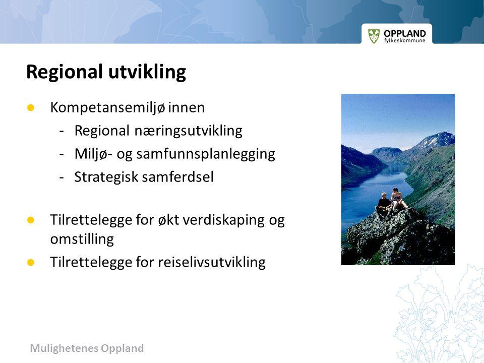 Mulighetenes Oppland ● Kompetansemiljø innen -Regional næringsutvikling - Miljø- og samfunnsplanlegging - Strategisk samferdsel ● Tilrettelegge for øk