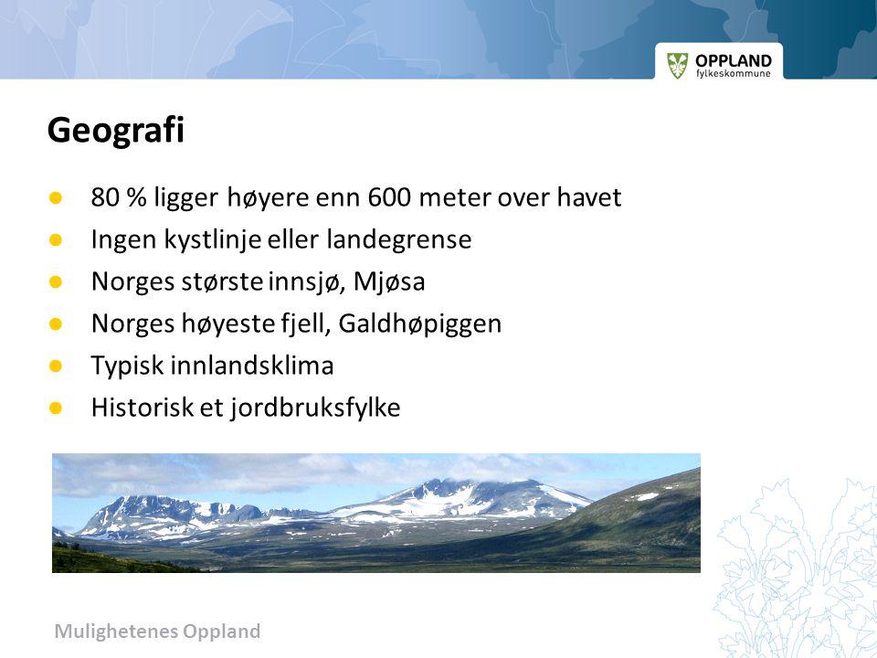 Mulighetenes Oppland ● 80 % ligger høyere enn 600 meter over havet ● Ingen kystlinje eller landegrense ● Norges største innsjø, Mjøsa ● Norges høyeste