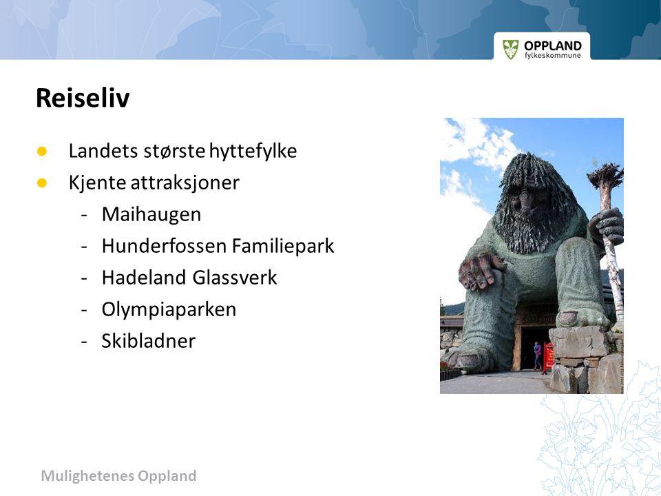 Mulighetenes Oppland ● Landets største hyttefylke ● Kjente attraksjoner -Maihaugen -Hunderfossen Familiepark -Hadeland Glassverk -Olympiaparken -Skibl