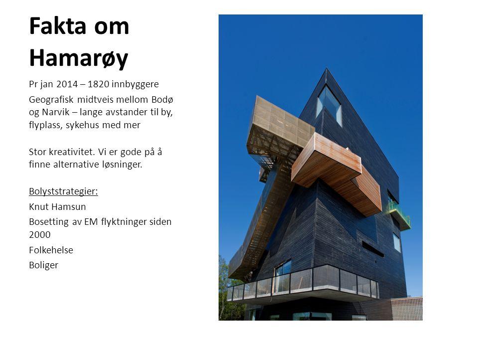 Fakta om Hamarøy Pr jan 2014 – 1820 innbyggere Geografisk midtveis mellom Bodø og Narvik – lange avstander til by, flyplass, sykehus med mer Stor krea