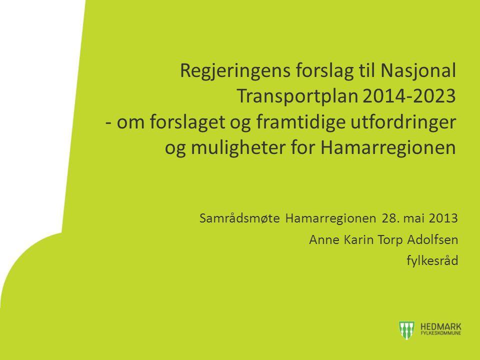 Regjeringens forslag til Nasjonal Transportplan 2014-2023 - om forslaget og framtidige utfordringer og muligheter for Hamarregionen Samrådsmøte Hamarregionen 28.