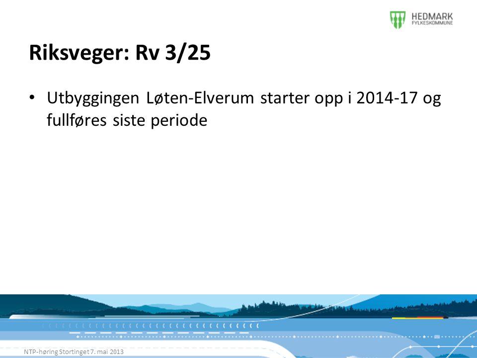 Riksveger: Rv 3/25 NTP-høring Stortinget 7. mai 2013 • Utbyggingen Løten-Elverum starter opp i 2014-17 og fullføres siste periode
