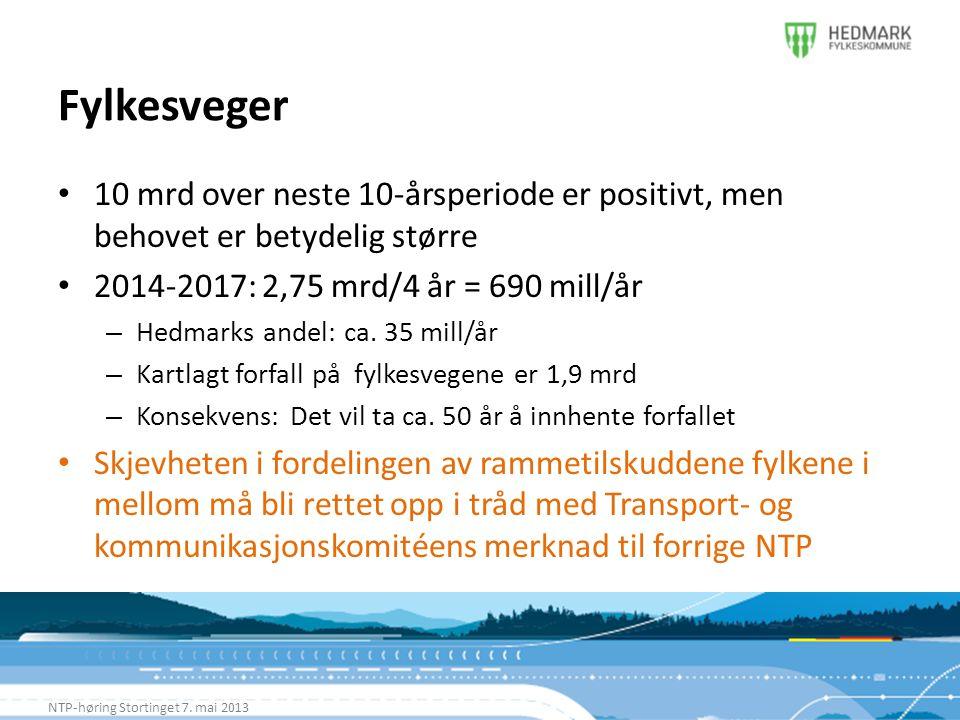 Fylkesveger NTP-høring Stortinget 7. mai 2013 • 10 mrd over neste 10-årsperiode er positivt, men behovet er betydelig større • 2014-2017: 2,75 mrd/4 å