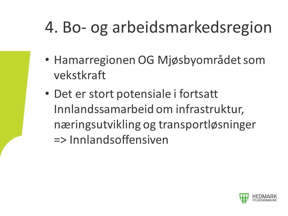 • Hamarregionen OG Mjøsbyområdet som vekstkraft • Det er stort potensiale i fortsatt Innlandssamarbeid om infrastruktur, næringsutvikling og transportløsninger => Innlandsoffensiven 4.