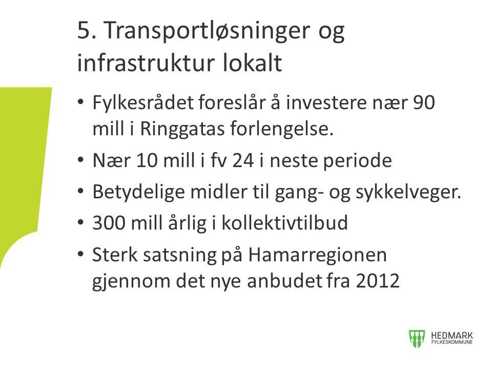 • Fylkesrådet foreslår å investere nær 90 mill i Ringgatas forlengelse. • Nær 10 mill i fv 24 i neste periode • Betydelige midler til gang- og sykkelv