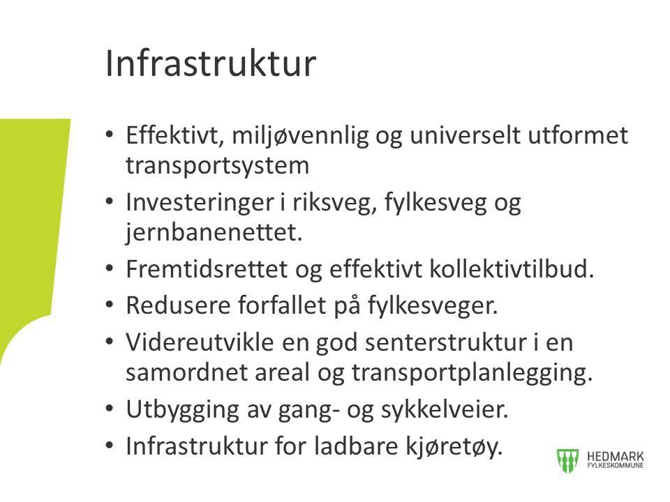• Effektivt, miljøvennlig og universelt utformet transportsystem • Investeringer i riksveg, fylkesveg og jernbanenettet. • Fremtidsrettet og effektivt