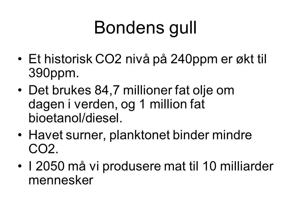 Bondens gull •Et historisk CO2 nivå på 240ppm er økt til 390ppm.