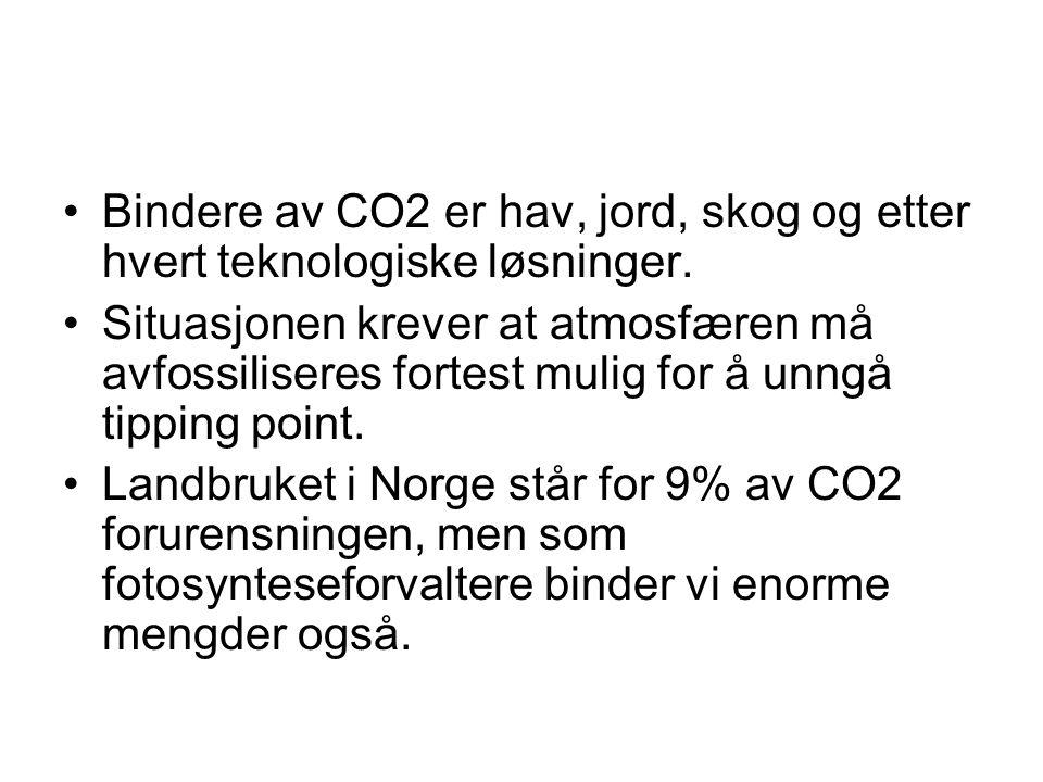 •Bindere av CO2 er hav, jord, skog og etter hvert teknologiske løsninger.