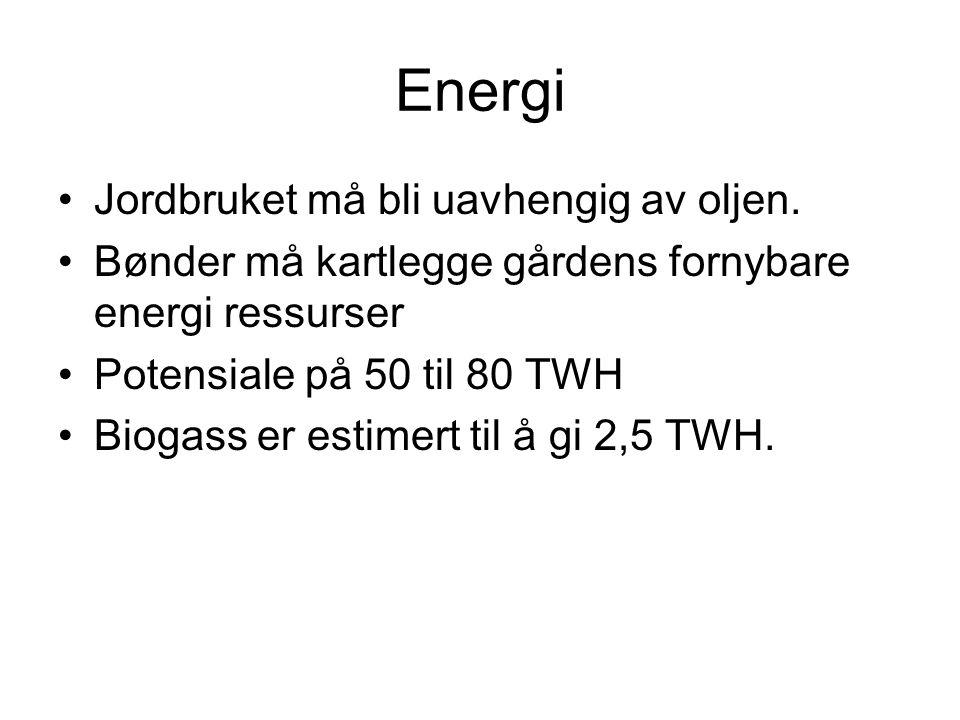 Biogass •Kjent teknologi fra China, mange hundre år og ikke 1000 års erfaring •Tyskland er kommet lengst i teknologi utvikling •CO2 regnskap ved bygging av reaktorer i Norge •Tre fremfor betong?