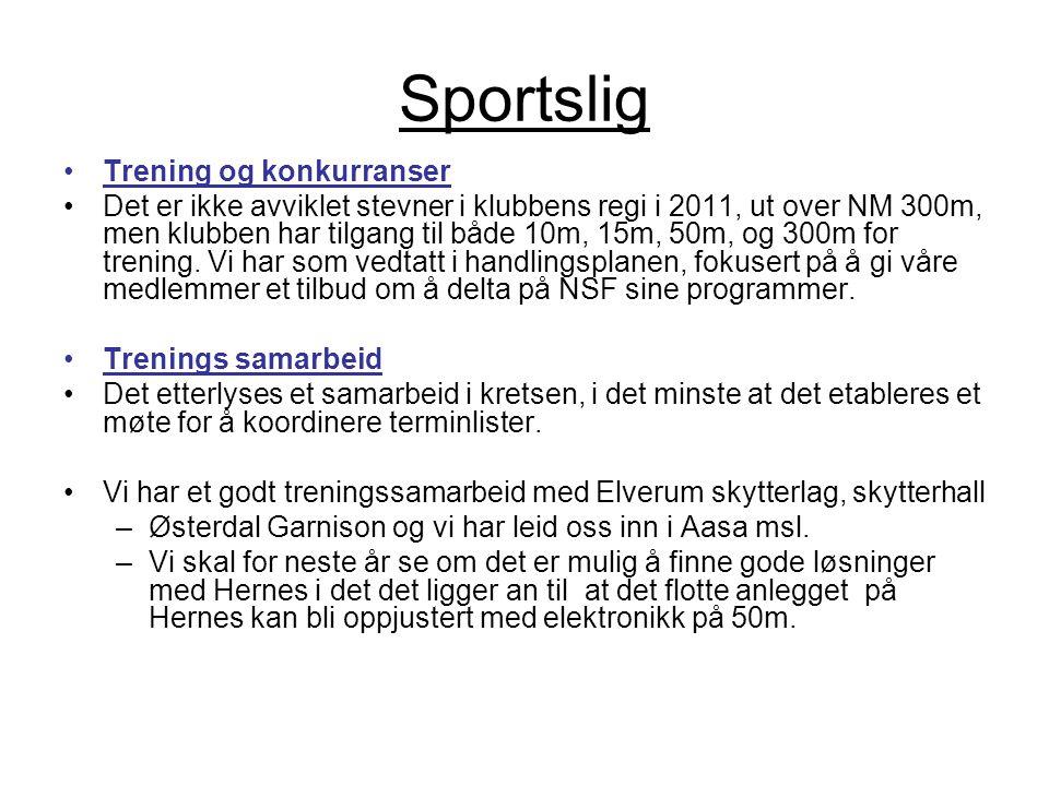 Sportslig •Trening og konkurranser •Det er ikke avviklet stevner i klubbens regi i 2011, ut over NM 300m, men klubben har tilgang til både 10m, 15m, 5