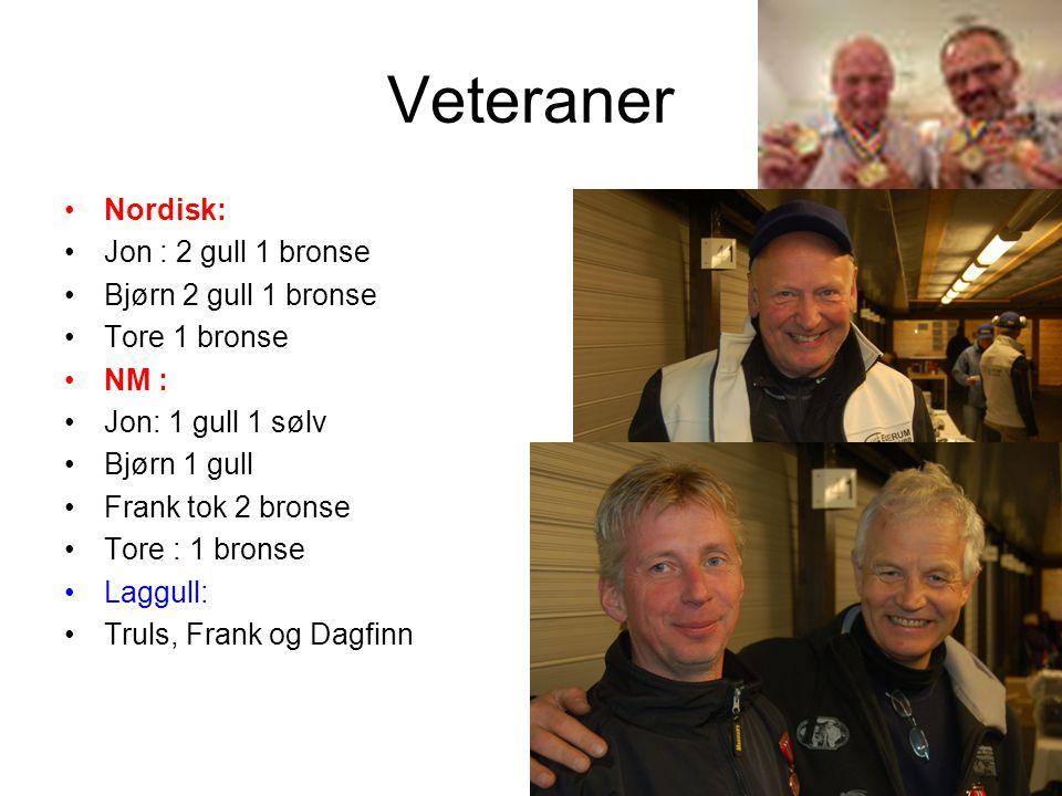 Veteraner •Nordisk: •Jon : 2 gull 1 bronse •Bjørn 2 gull 1 bronse •Tore 1 bronse •NM : •Jon: 1 gull 1 sølv •Bjørn 1 gull •Frank tok 2 bronse •Tore : 1