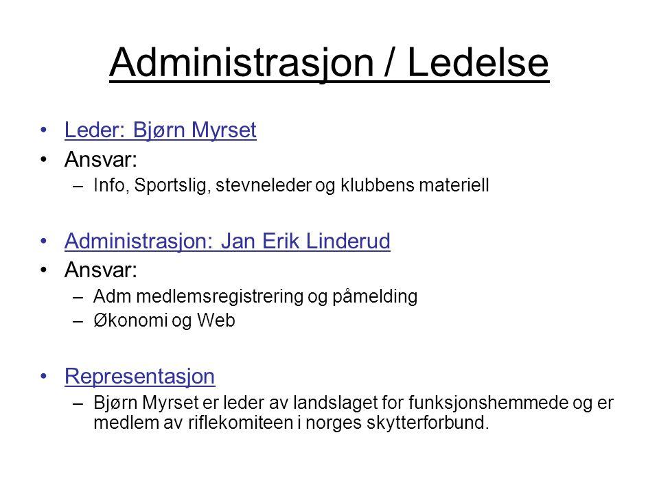 Administrasjon / Ledelse •Leder: Bjørn Myrset •Ansvar: –Info, Sportslig, stevneleder og klubbens materiell •Administrasjon: Jan Erik Linderud •Ansvar: