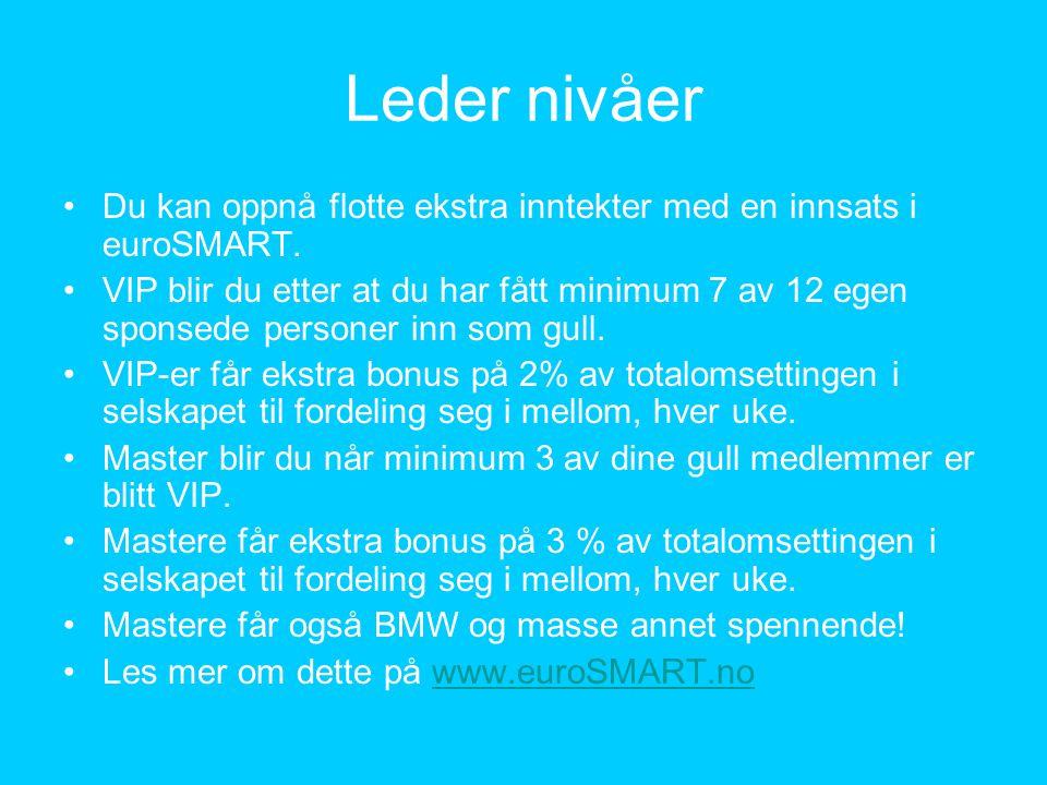 Leder nivåer •Du kan oppnå flotte ekstra inntekter med en innsats i euroSMART. •VIP blir du etter at du har fått minimum 7 av 12 egen sponsede persone