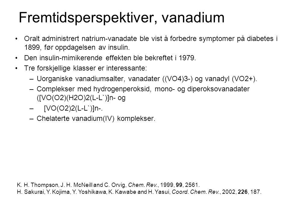 Fremtidsperspektiver, vanadium •Vanadium(IV).•Nøytral ladning.