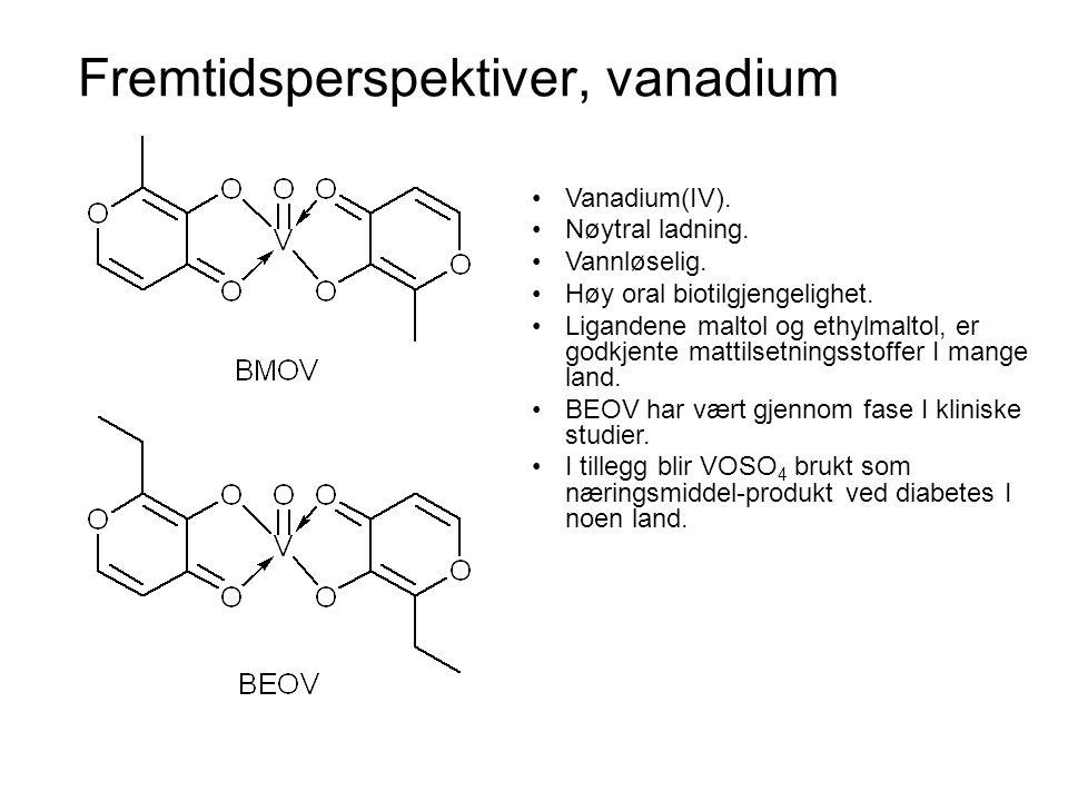 Fremtidsperspektiver, vanadium •Vanadium antas å virke på de samme intracellulære signalsystemene som insulin.