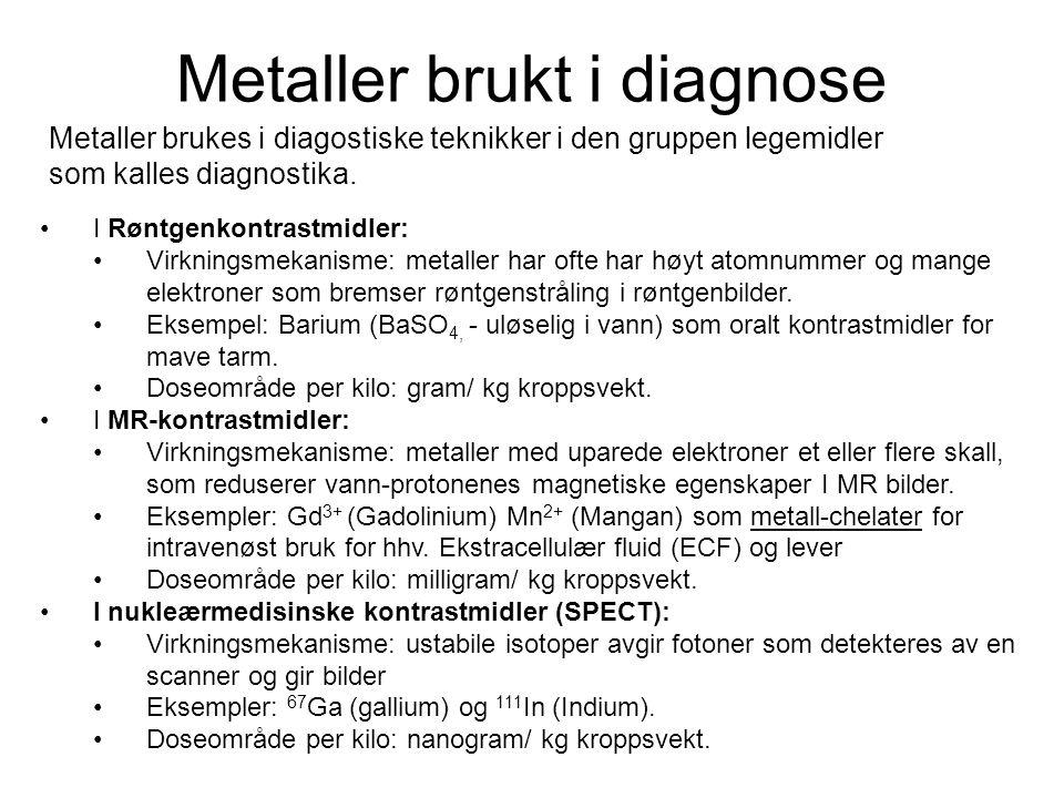 Metaller brukt i diagnose Ligander som brukes til diagnose av sykdom metall chelater I MRI (Magnetisk Resonans Tomografi) På markedet eller I klinisk utprøving Gadolinium (Gd 3+ ) og mangan (Mn 2+ )